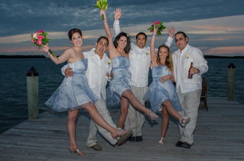 The bridal party having some fun