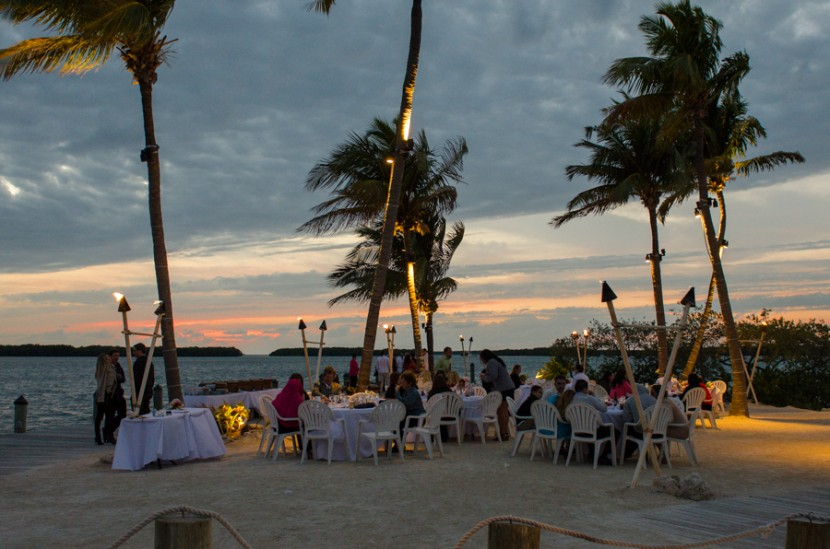 The guests enjoying the beautiful sunset