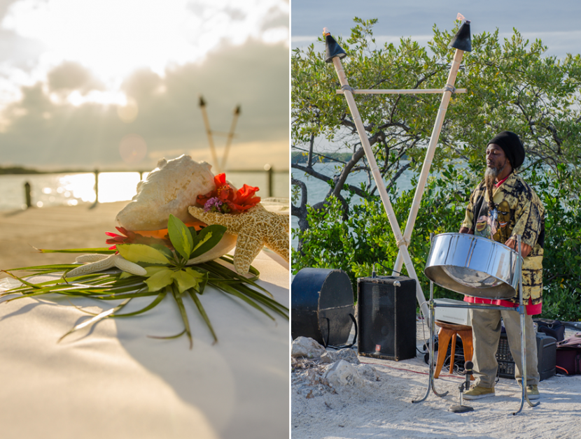 Beach decor and island music for the wedding procession