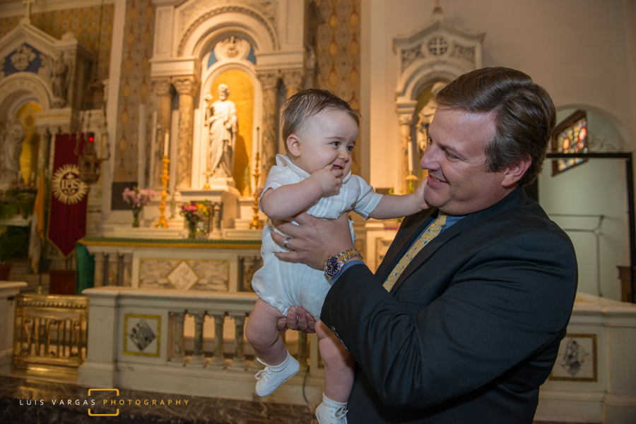 Baby Antonio with his godfather after the baptism
