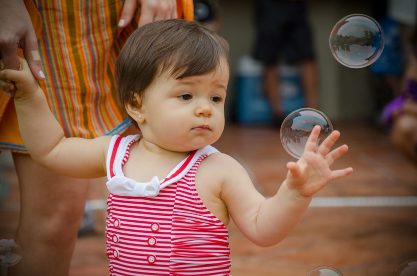 Daniela playing with the bubbles