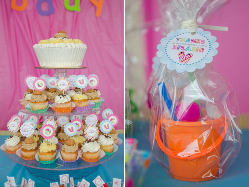 Giant birthday cupcake and gifts for the kids