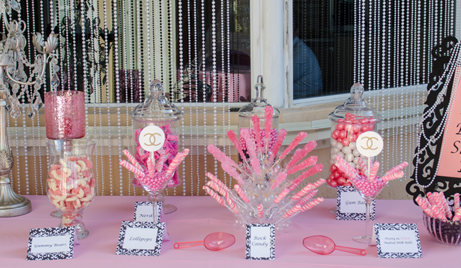 Pink and Black Theme Candy Station