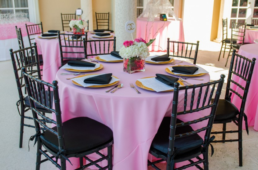 Pink and black theme tables