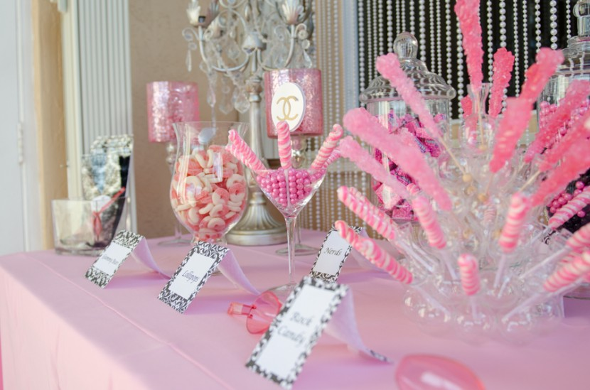 Pink colored candy station
