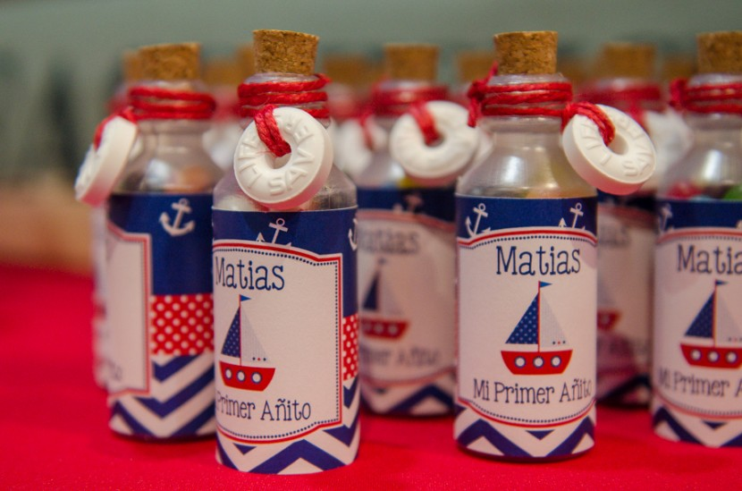 Mini bottles filled with candy