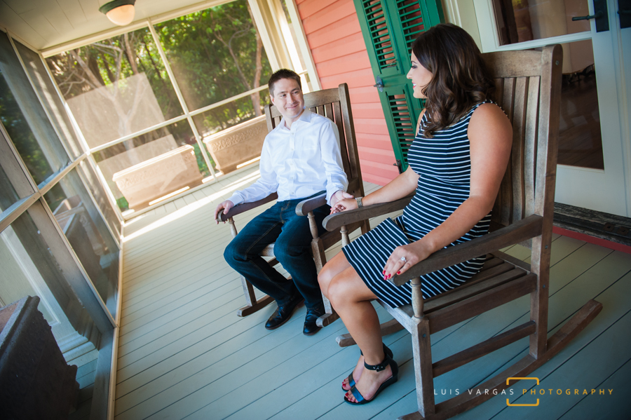 The couple taking a break on the rocking chairs
