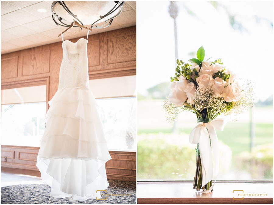 The bride's wedding dress and bouquet