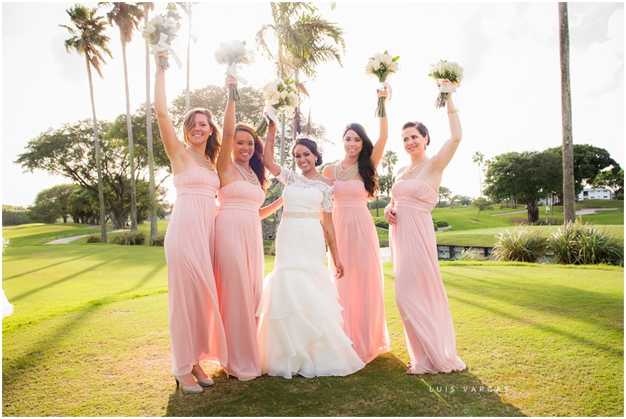 The beautiful bride with her bridesmaids