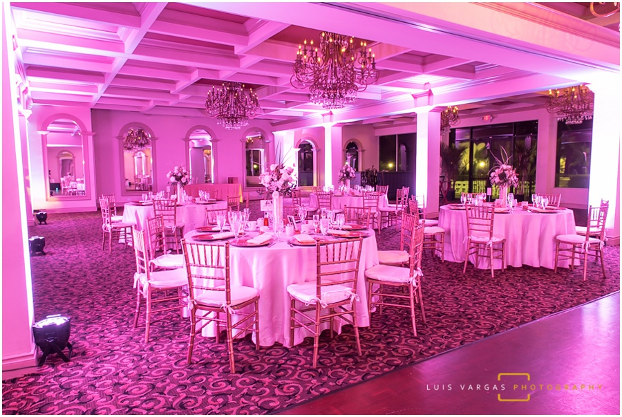 The venue decor and uplighting