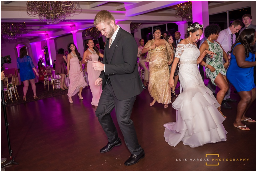 The groom showing his own moves on the dance floor