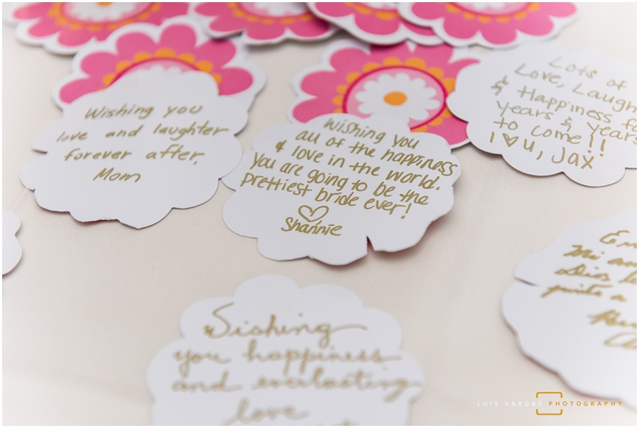 Written wishes for the couple