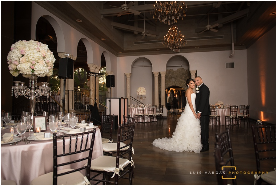 Bride and groom in their reception room