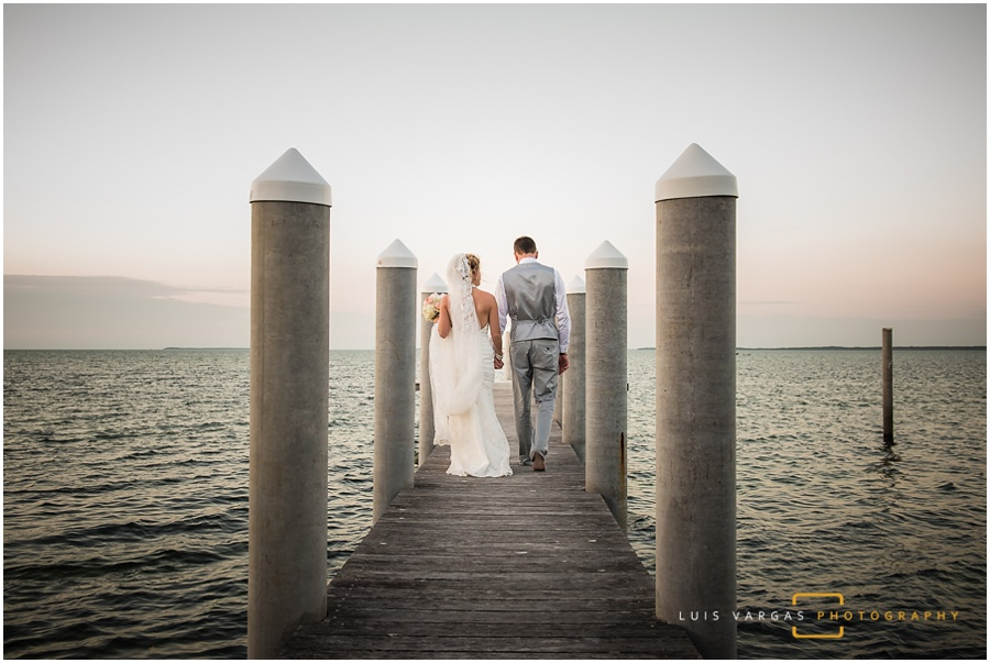 Couple walking on the pier