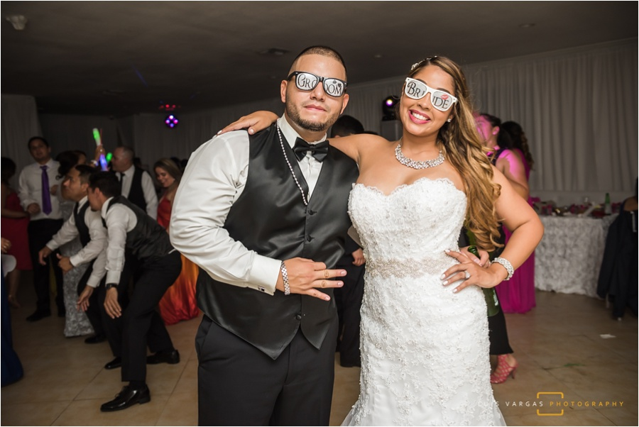 Bride and groom sporting their new shades